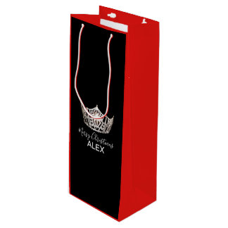 Sacola Para Vinho Saco-Natal vermelho do presente da coroa de prata