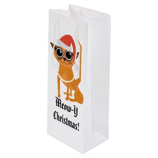 Sacola Para Vinho Saco pouco frequente do presente do Natal do gato