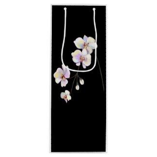 Sacola Para Vinho Saco preto e branco do vinho da orquídea com texto