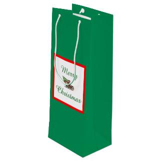 Sacola Para Vinho Saco verde do presente do vinho do Feliz Natal por
