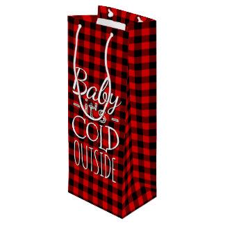 Sacola Para Vinho Teste padrão vermelho tradicional da xadrez da