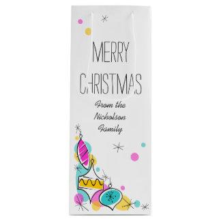Sacola Para Vinho Vinho de canto do texto do Natal dos Baubles