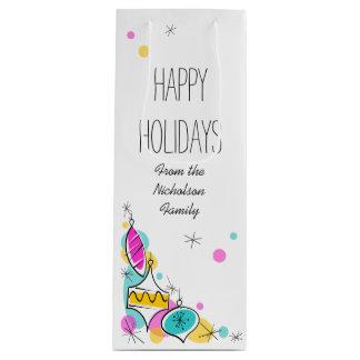 Sacola Para Vinho Vinho de canto do texto dos feriados dos Baubles