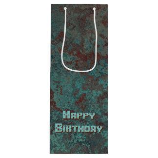 """Sacola Para Vinho Vinho """"de cobre"""" do feliz aniversario do impressão"""