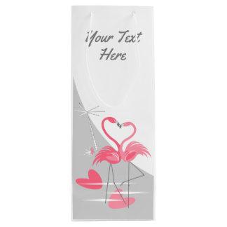Sacola Para Vinho Vinho do texto da lua do amor do flamingo grande