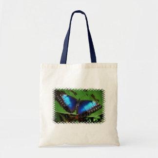 Sacola pequena da borboleta azul da asa bolsa de lona