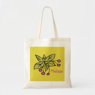 Sacola personalizada com folhas e bagas sacola tote budget