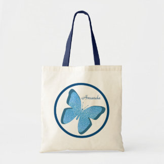 Sacola personalizada da borboleta jóia azul sacola tote budget