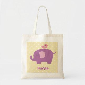 Sacola roxa personalizada do elefante bolsa para compra