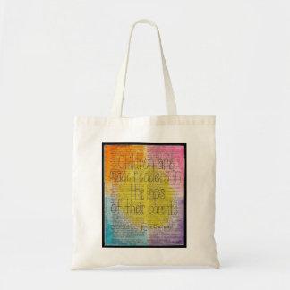 Sacola temático das citações literárias das sacola tote budget