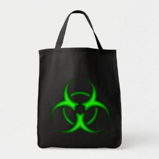 Sacola verde de néon do símbolo do Biohazard Sacola Tote De Mercado