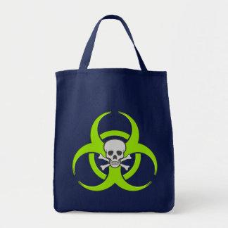 Sacola verde do crânio do Biohazard Sacola Tote De Mercado