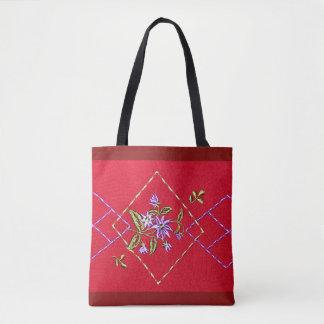 Sacola vermelha do design floral bolsas tote