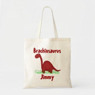 Sacola vermelha do dinossauro dos desenhos animado bolsa de lona