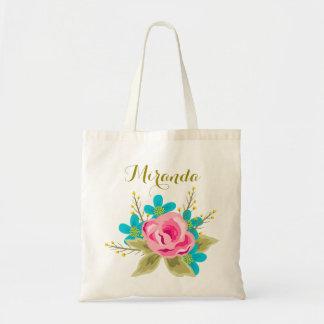 Sacola wedding personalizada com impressão floral sacola tote budget