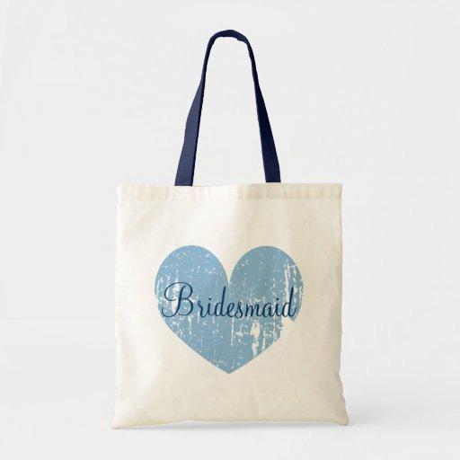 Sacolas personalizadas da dama de honra do coração bolsas para compras