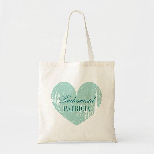 Sacolas personalizadas da dama de honra do coração bolsas