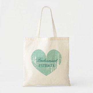 Sacolas personalizadas da dama de honra do coração sacola tote budget