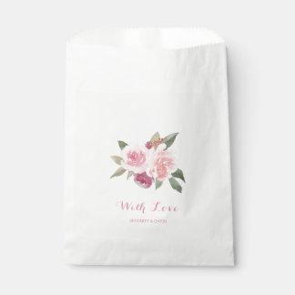 Sacolinha Aguarela rústica floral com casamento do amor