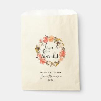 Sacolinha Amor e deleite floral do casamento da grinalda dos