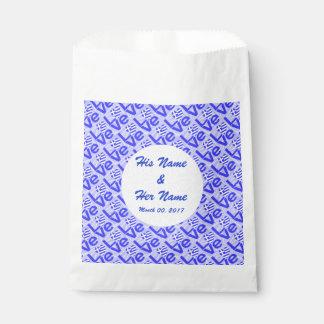 Sacolinha AMOR grego azul na luz - quadrados Squiggly azuis
