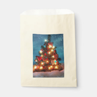 Sacolinha Árvore de Natal - decorações do Natal - flocos de