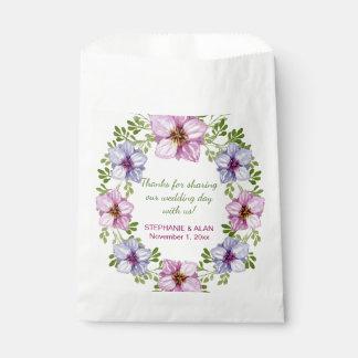 Sacolinha As bolsas florais cor-de-rosa roxas do favor do