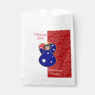 Sacolinha Branco vermelho australiano do cabelo preto da