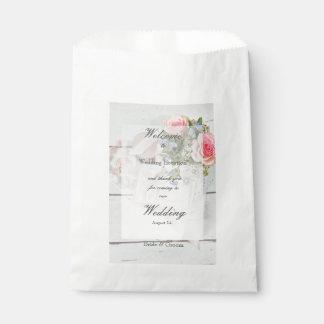 Sacolinha Casamento editável da flor romântica do primavera