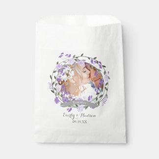 Sacolinha Casamento floral da grinalda da peônia roxa