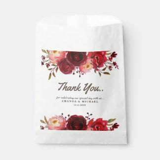 Sacolinha Casamento floral das rosas vermelhas de Borgonha