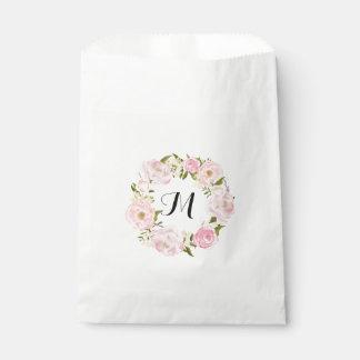 Sacolinha Casamento personalizado floral do rosa moderno do