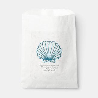 Sacolinha Casamento rústico do Seashell dos azuis marinhos
