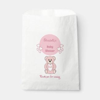 Sacolinha Chá de fraldas cor-de-rosa do urso de ursinho
