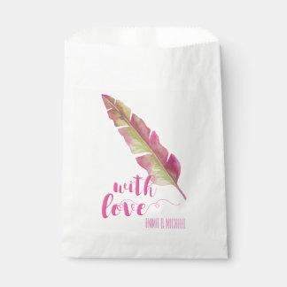 Sacolinha Com a pena do amor |, cor-de-rosa e esverdeie as