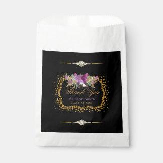 Sacolinha Confetes do ouro da flor da aguarela do brilho da
