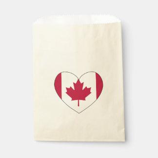 Sacolinha Coração da bandeira de Canadá