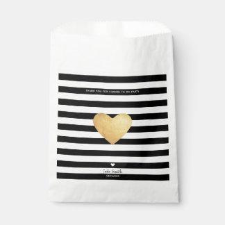 Sacolinha Coração de ouro com listras