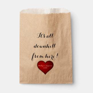 Sacolinha Coração vermelho do casamento doce engraçado com