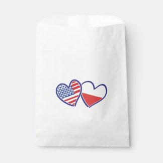 Sacolinha Corações da bandeira do Polônia dos EUA