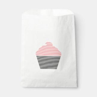 Sacolinha Cupcake - tiras - preto e rosa