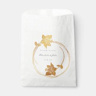 Sacolinha Do ouro marrom da flor de Borgonha obrigado