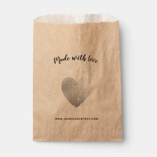 Sacolinha Feito com amor • Coração da folha de prata
