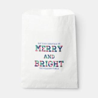 Sacolinha Feliz colorida e saco brilhante do favor do Natal