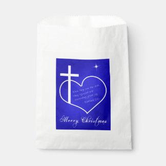 Sacolinha Feliz Natal cristão azul