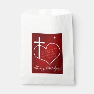 Sacolinha Feliz Natal cristão vermelho