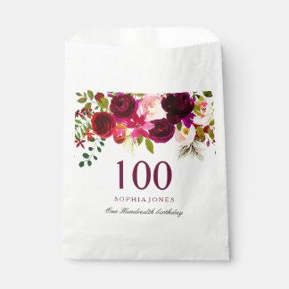Sacolinha Festa de aniversário floral de Borgonha Boho 100th