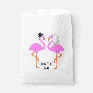 Sacolinha Flamingos cor-de-rosa bonitos noiva & casamento do