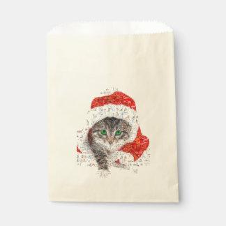 Sacolinha gato de Papai Noel - colagem do gato - gatinho -