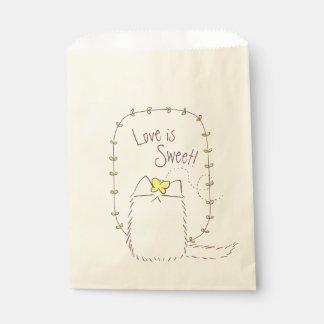 Sacolinha Gato macio e texto amarelo do costume da borboleta